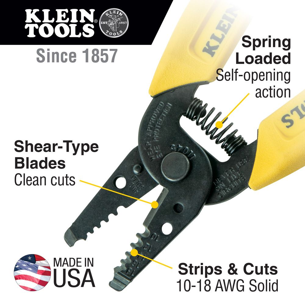 Wire Stripper/Cutter (10-18 AWG Solid) - 11045 | Klein Tools - For ...