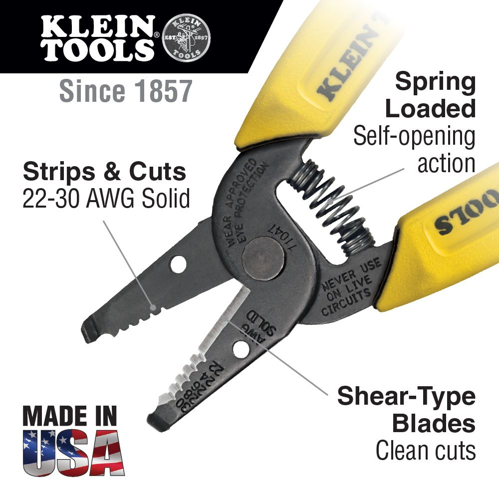 Wire Stripper/Cutter, 22-30 AWG Solid Wire - 11047 | Klein Tools ...