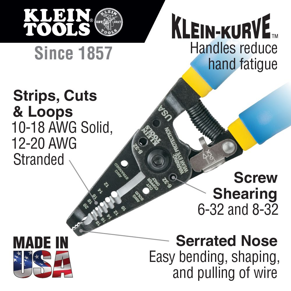 Solid and Stranded Copper Wire Stripper and Cutter - 11055 | Klein ...