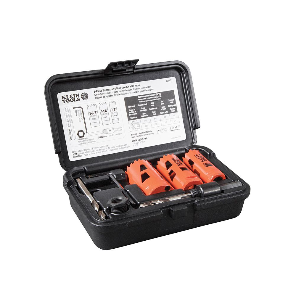 "KLEIN 32905 2 PX HOLE SAW KIT 7/8""-1 3/8'/W ARBOR AND REP PILLOT BIT"