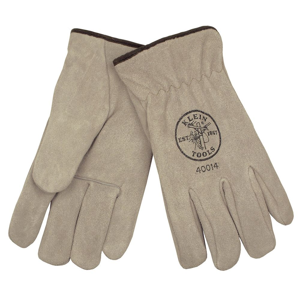 Klein 40015 Lined Driver's Gloves, Suede Cowhide - XLarge