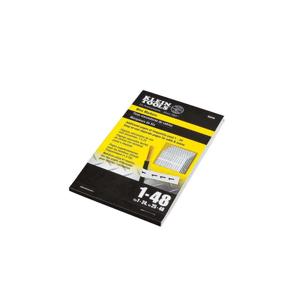 Wire Marker Book, 1-48 - 56250 | Klein Tools - For Professionals ...