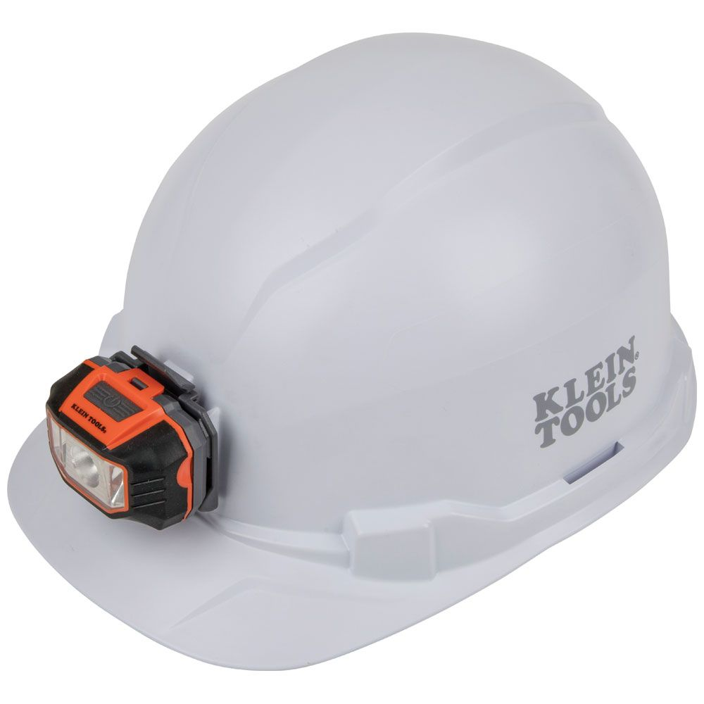 Hard Hat, Non-Vented, Cap Style with Headlamp, White