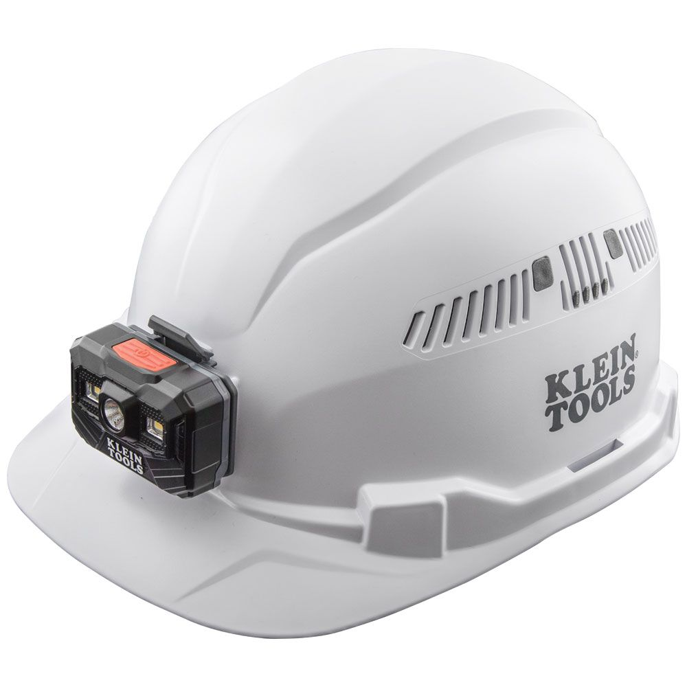 Hard Hat, Vented, Cap Style with Rechargeable Headlamp