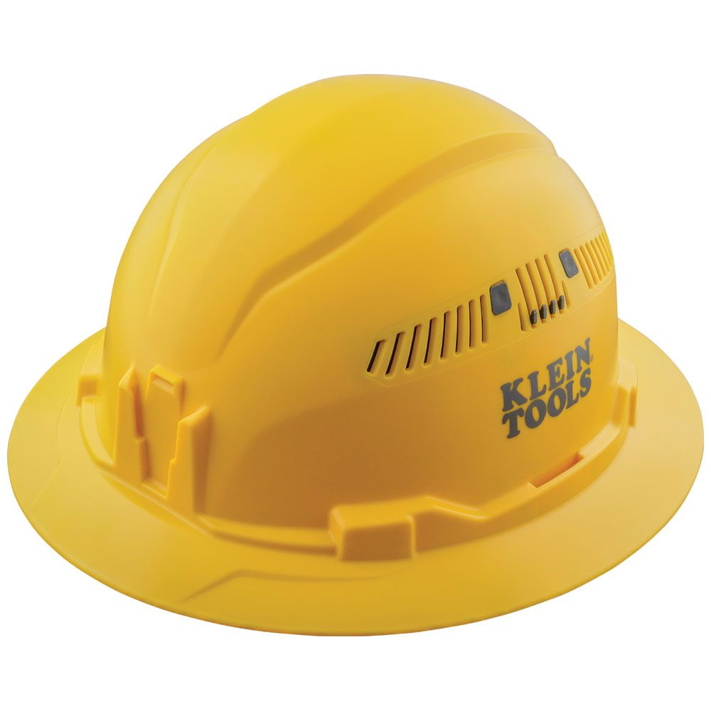 Hard Hat, Vented, Full Brim Style, Yellow