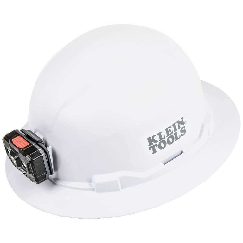 Hard Hat, Non-vented, Full Brim with Rechargeable Headlamp
