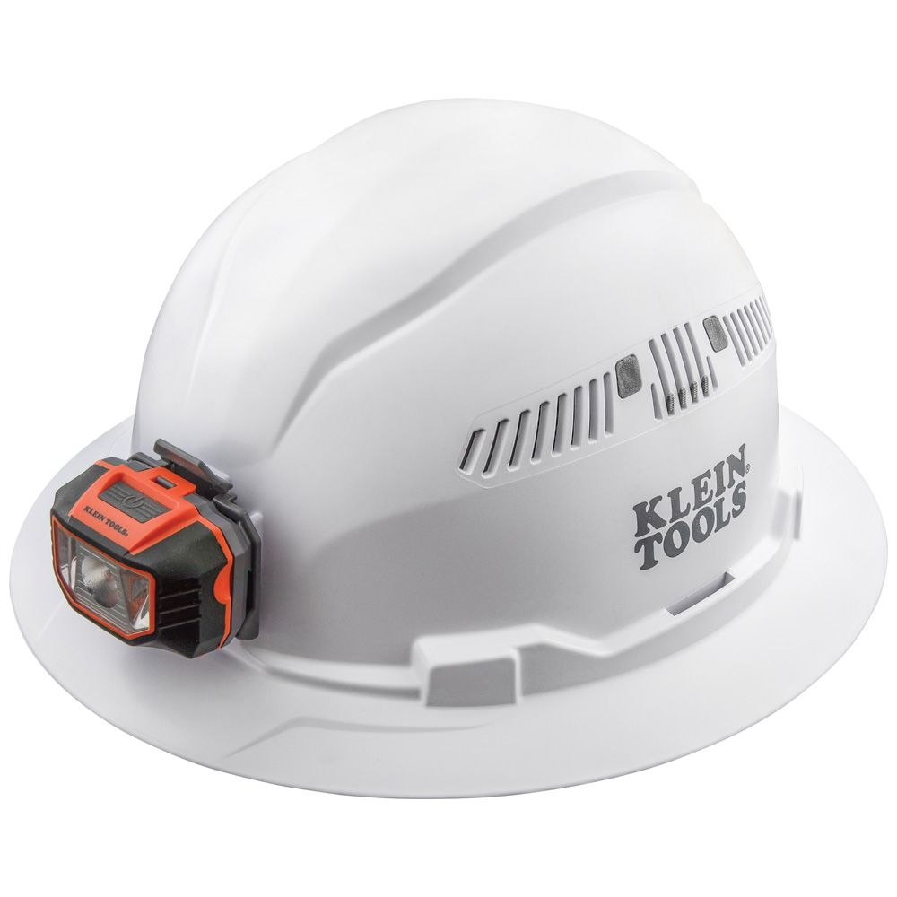Hard Hat, Vented, Full Brim with Headlamp, White