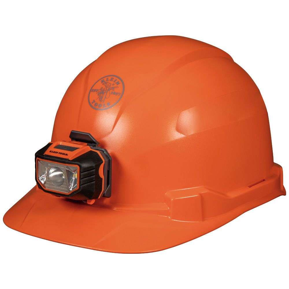 Hard Hat, Non-vented, Orange Cap Style with Headlamp