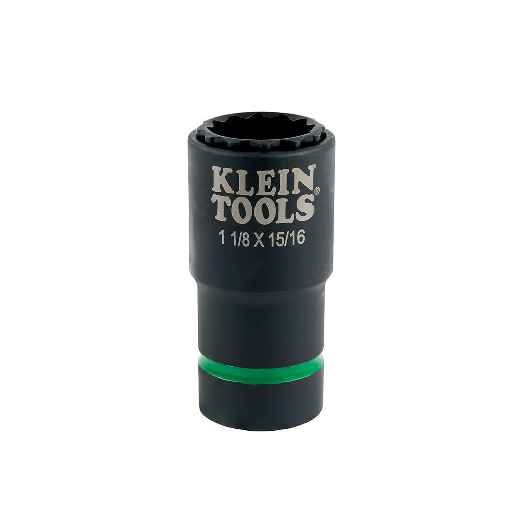 2-in-1 Impact Socket, 12-Point, 1-1/8 and 15/16-Inch