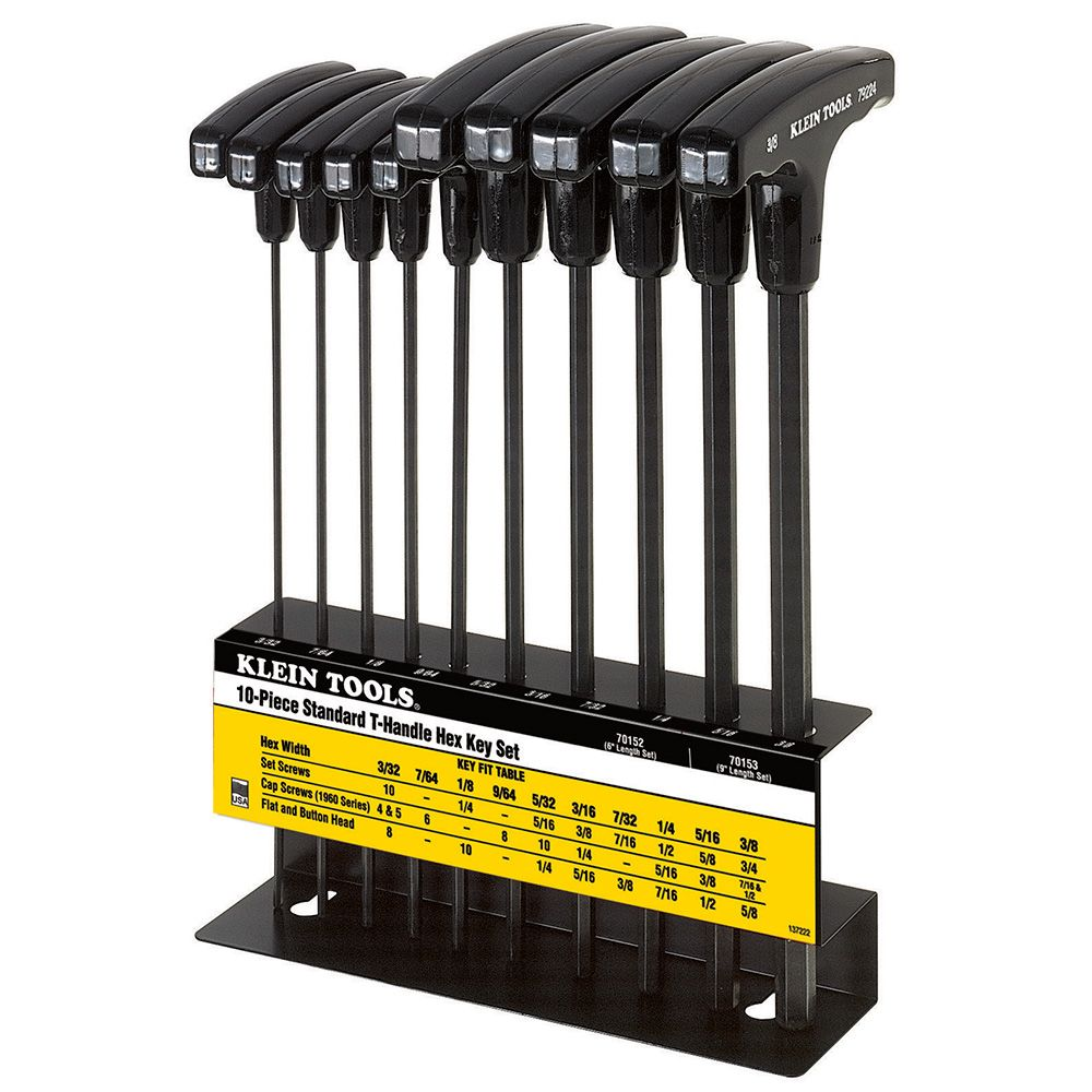 10-Piece Inch T-Handle Hex-Key Set with Stand