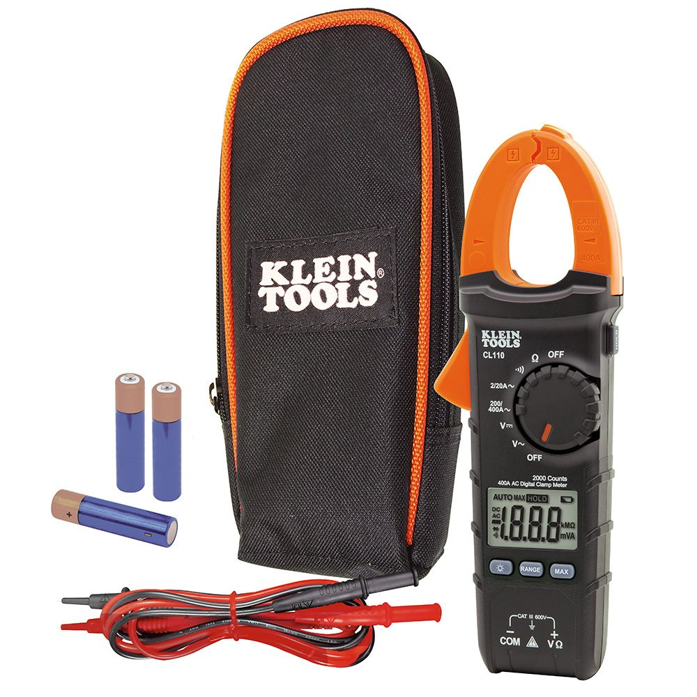 digital clamp meter ac auto ranging 400 amp cl110 klein tools for professionals since 1857. Black Bedroom Furniture Sets. Home Design Ideas