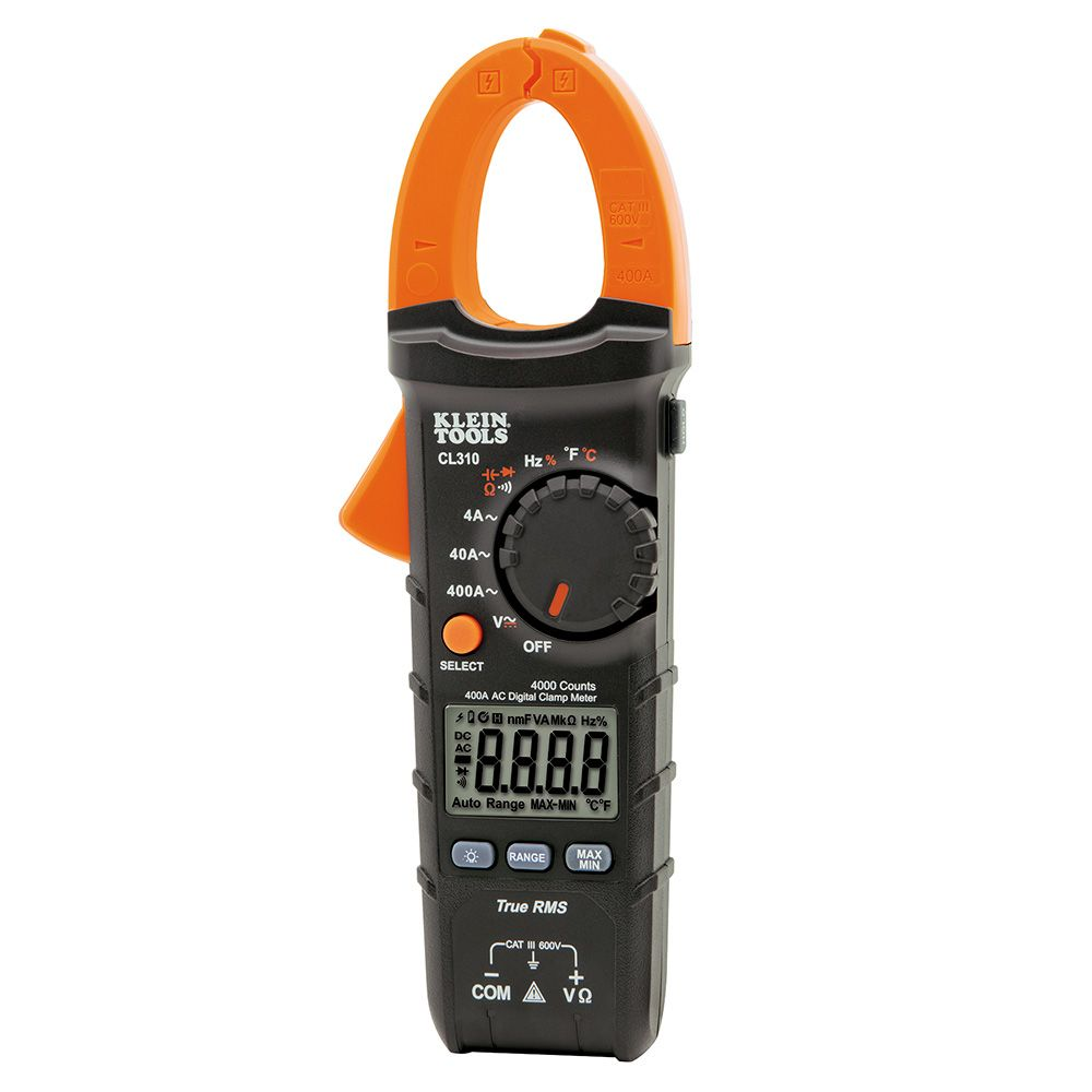 KLEIN CL310 DIGITAL CLAMP METER, AC AUTO-RANGING, 400A