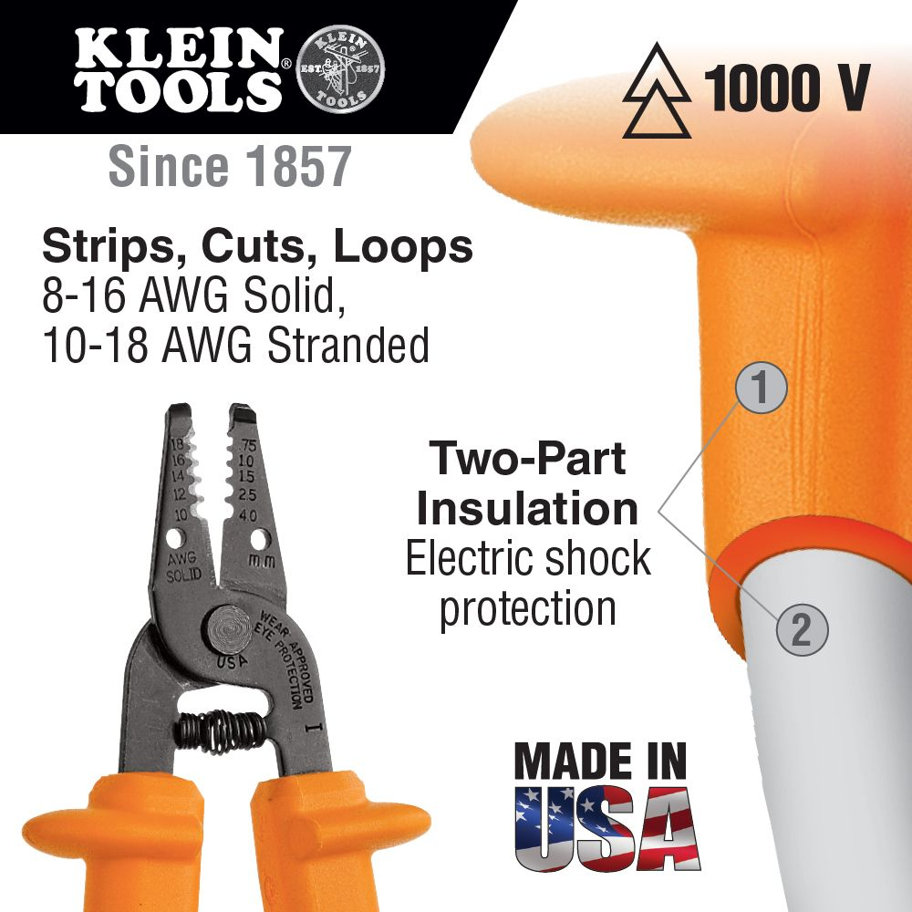Insulated Wire Stripper and Cutter - 11045-INS | Klein Tools - For ...