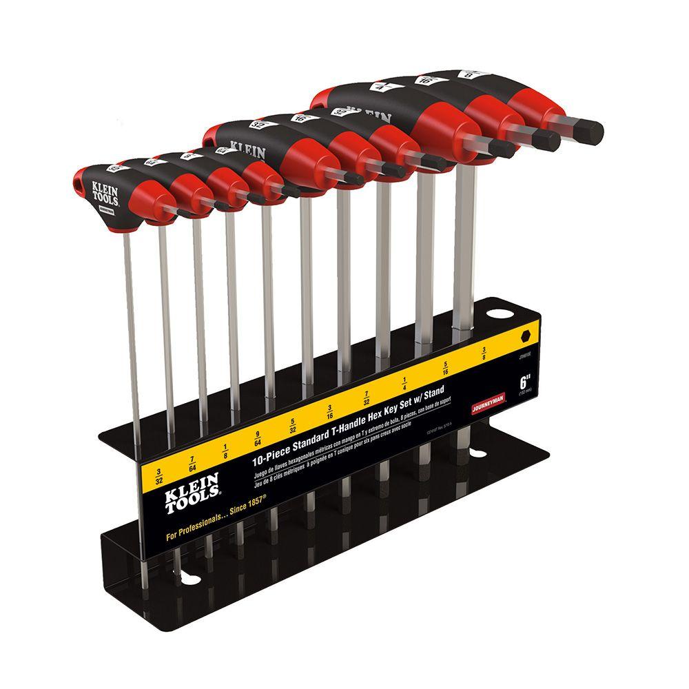 "Klein JTH910E 10pc 9"" SAE T-Handle Hex Key Set w/Stand"