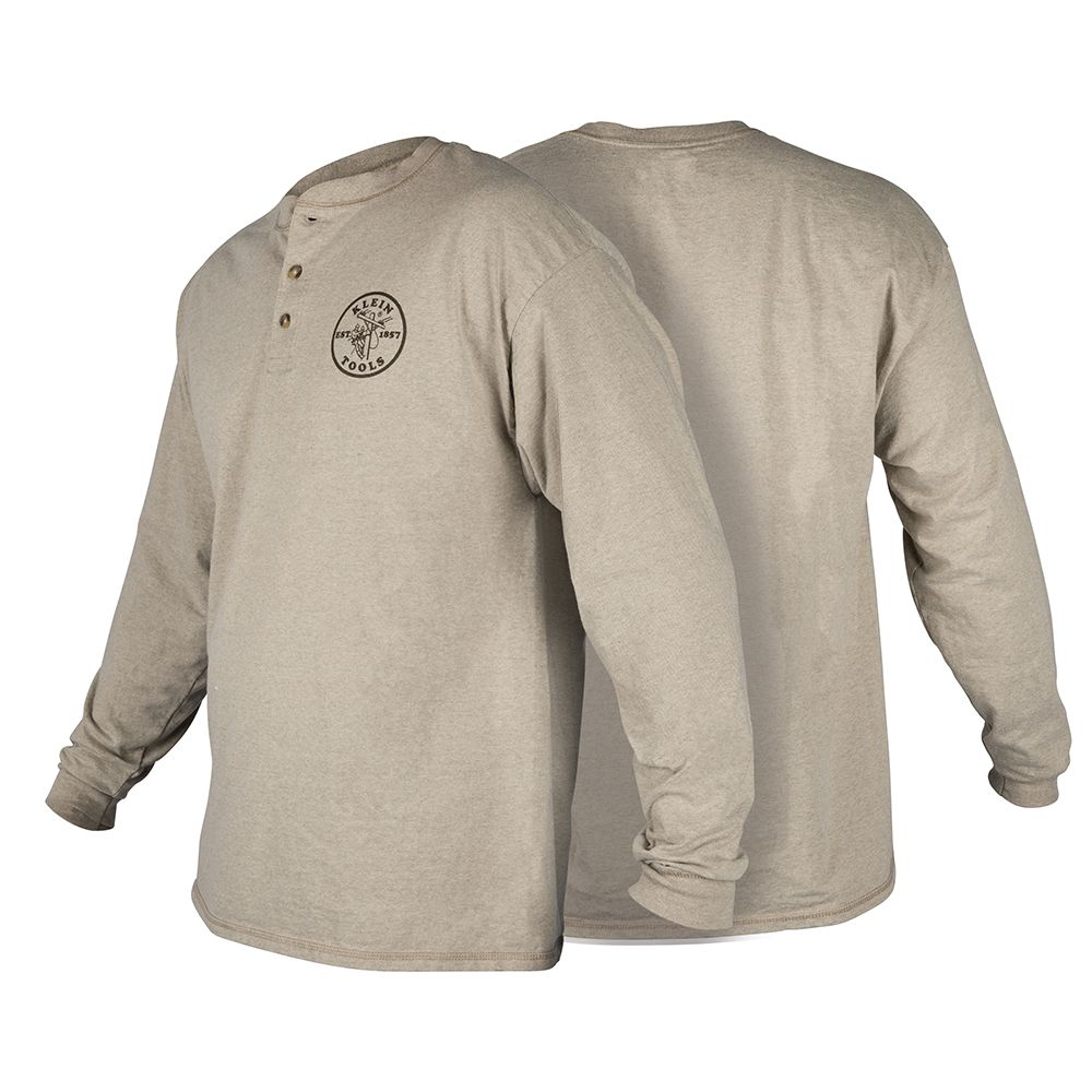 Hanes® Long Sleeve Henley with Lineman Logo, XL