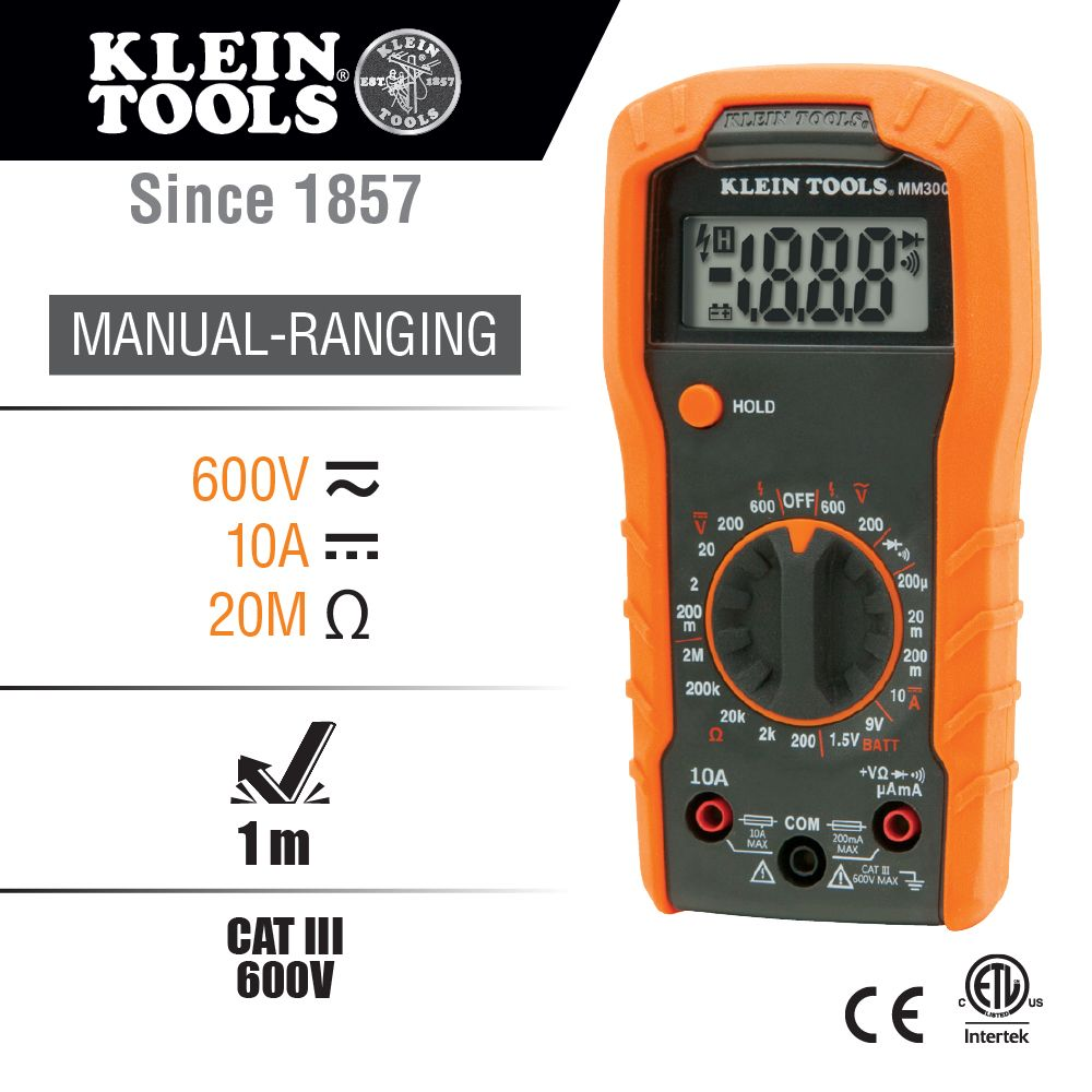 Digital Multimeter Manual Ranging 600v Mm300 Klein Tools For Testing Wiring Harness With Alternate Image