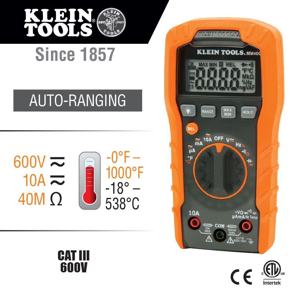 Digital Multimeter, Auto-Ranging, 600V - MM400 | Klein Tools