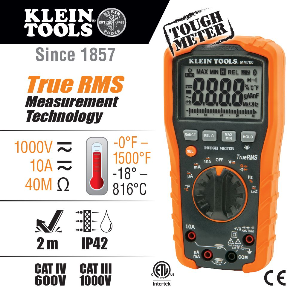 Digital Multimeter Trms Low Impedance 1000v Mm700 Klein Tools Electronic Fuse For Dc Circuit Alternate Image