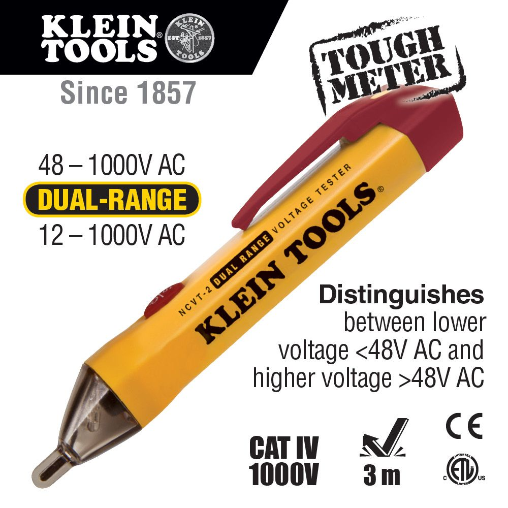Dual Range Non Contact Voltage Tester Ncvt 2 Klein Tools For Christmas Light Chart Alternate Image