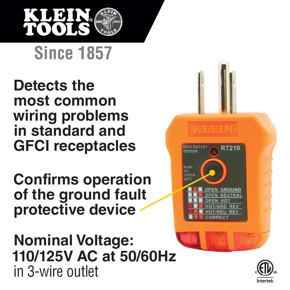Gfci Receptacle Tester Rt210 Klein Tools For Professionals Since 1857
