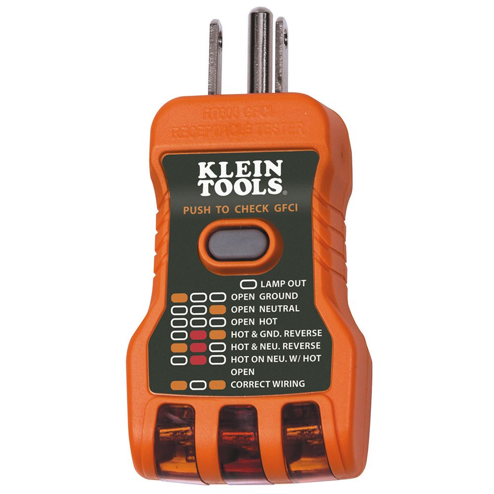 Gfci Receptacle Tester Usa Made Rt600 Klein Tools For Wiring Outlets
