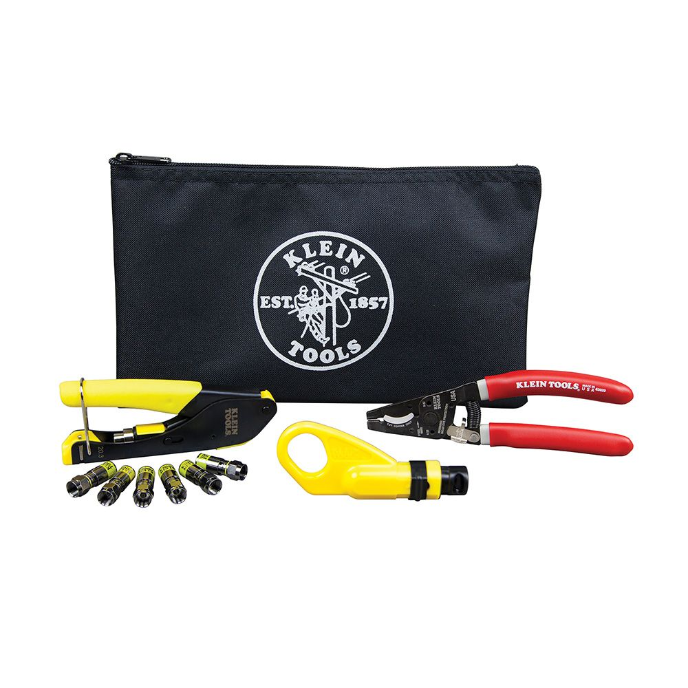 Klein Tools VDV026-211 Coax Cable Installation Kit with Zipper Pouch ...