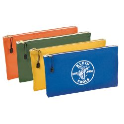 5140 Zipper Bags, Canvas Tool Pouches Olive/Orange/Blue/Yellow, 4-Pack