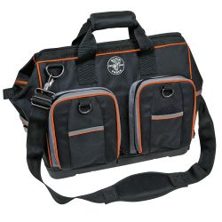 Tradesman Pro Organizers (57) - Tradesman Pro™ products are durable, versatile, functional and designed with the tradesperson in mind. They feature 1680d ballistic weave material with orange detailed trim and interiors for easy tool visibility. Small tool bags, large tool bags and everything in between are designed to fit the diverse tools and accessories professionals use every day and help make lugging tools and materials between jobsites easier.