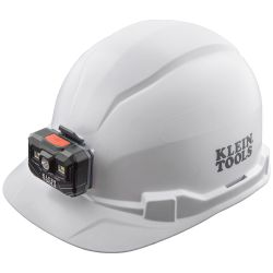 60107RL Hard Hat, Non-Vented, Cap Style with Rechargeable Headlamp, White