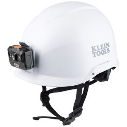 Safety Helmet, Non-Vented-Class E, with Rechargeable Headlamp, White