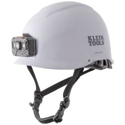 60146 Safety Helmet, Non-Vented-Class E, with Rechargeable Headlamp, White