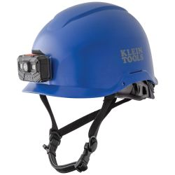 60148 Safety Helmet, Non-Vented-Class E, with Rechargeable Headlamp, Blue