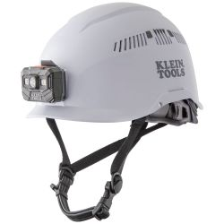 60150 Safety Helmet, Vented-Class C, with Rechargeable Headlamp, White