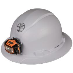 60406 Hard Hat, Non-vented, Full Brim Style with Headlamp