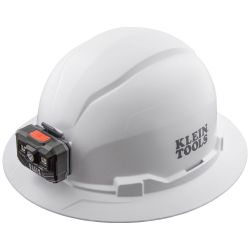 60406RL Hard Hat, Non-Vented, Full Brim with Rechargeable Headlamp, White