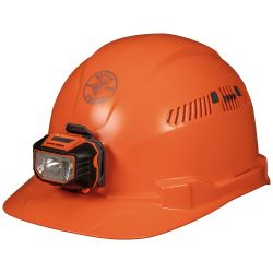 60901 Hard Hat, Vented, Orange Cap Style with Headlamp