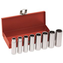 65514 1/2'' Drive Deep Socket Wrench Set, 8 Pc