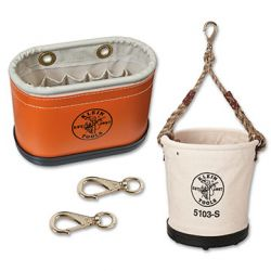 Lineman Buckets & Accessories - Klein canvas buckets and accessories have been recognized for decades for their durability and dependability. They are built for strength to handle professional wear and tear.
