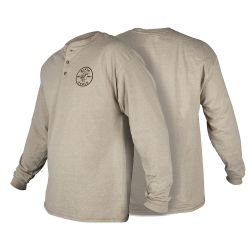 MBA00127-2 Hanes® Long Sleeve Henley with Lineman Logo, L