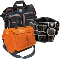 Nylon / Vinyl / Polyester Tool Bags - Klein Tools' Nylon and Vinyl Tool Bags are designed to withstand harsh jobsite conditions. These bags are built to fit the diverse tools and accessories professionals use every day. With adjustable straps and handles, these bags are easy to carry. Various color options make the bags easy to identify. All nylon and vinyl tool bags are made in the USA.