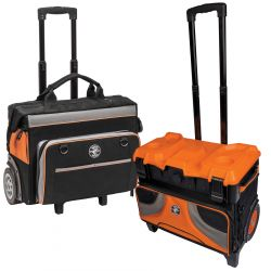 Rolling Tool Bags - Klein Tools' Rolling Tool Bags are designed to easily cart your tools around the jobsite. Rugged wheels can handle rough terrain without warping or damaging. Bags can handle storage inside as well as stacked on top. Multiple interior and exterior pockets allow for maximum tool storage. Bags also feature a heavy-duty telescoping handle and reinforced metal frame for increased strength across the board.