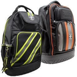Tool Backpacks - Klein's Tool Backpacks are built for storage, versatility and durability on the jobsite. The backpacks feature 1680d ballistic weave material with orange interiors for easy tool visibility. Whether you're looking for a smaller tablet backpack, or a larger bag with dozens of tool holders, there are plenty of size options to choose from. All backpacks feature multiple pockets to ensure you can carry all your necessary tools. Additionally, each bag has adjustable straps to make sure you have the perfect fit.