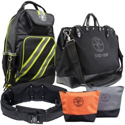 Tool Bags - Just as Klein offers a variety of tools, job-matched for every kind of work, Klein offers a variety of tool bags for every day carrying. These bags are manufactured with durable materials to withstand harsh jobsite conditions, just like the Klein hand tools you carry inside them. From small tool bags to large, and everything in between, Klein has designed a wide range bags in order to make carrying tools between jobsites as easy as possible.