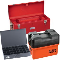 Storage Boxes - Klein's Tool Storage Boxes are perfect for storing small tools and parts. Boxes have a heavy, metallic-gray baked-enamel finish. Boxes come in a variety of sizes and number of compartments, so you can find the perfect fit for your job. Boxes also fit into various models of slide racks, so you can organize multiple boxes in one location when not in use. All Klein Tools boxes are made in the USA.