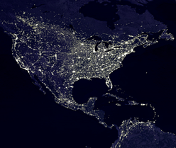 Powered North America at Night