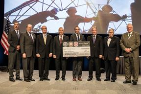 Mark Klein, co-president of Klein Tools presented Klein Tools' $2million donation over the next five years to IBEW, NECA and The Electrical Training Alliance at the NECA Show on October 7, 2016.